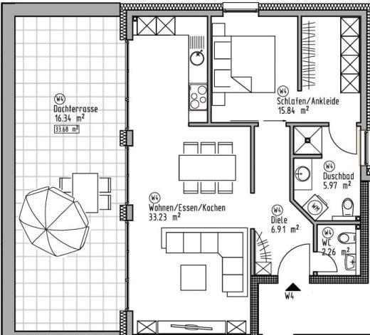 Penthaus-Wohnung 4 - Wohn- und Geschäftshaus Ilshofen