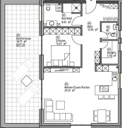 Penthaus-Wohnung 5 - Wohn- und Geschäftshaus Ilshofen